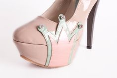 20 OFF   Be my queen Pumps  Nude high heels with crown by NorTin,