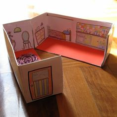 Shoe box doll house. You can also cut out images from magazines and glue them on instead. You can make dividers out of cardboard as well to have separate rooms.
