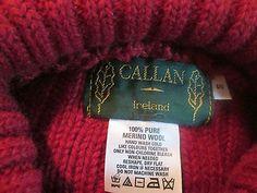 Callan sweater jumper cable fisherman aran merino wool ireland turtleneck red