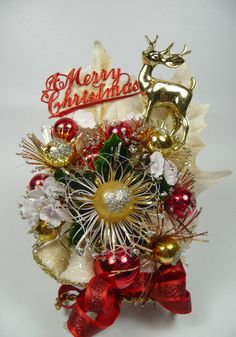 Christmas Corsage Vintage Reindeer Gold Red Sparkle by meaicp