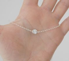 Tiny crystal necklace round clear crystal by littleglamour
