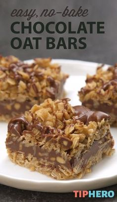 It doesnt get easier than this! True to the name, these delicious No-Bake Chocolate Oat Bars require zero baking to make, just butter, . Easy Desserts, Delicious Desserts, Yummy Food, Easy Dessert Bars, Easy Gluten Free Desserts, Healthy Dessert Recipes, No Bake Desserts, Vegan Desserts, Chocolate Oatmeal