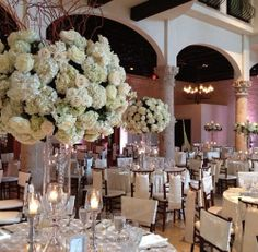 Any event that Darryl & Co do here at the Bell Tower on 34th is bound to be beautiful! Look at these elegant centerpieces here in our Carillion Ballroom! http://thebelltoweron34th.com/