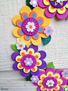 If your kids or tweens need a boredom-buster this summer, this fun and easy Foamies flower wreath is the perfect kids craft!Make a pretty flower wreath with a foam flower kit - diy tutorial idea, decor crafts for kids Look no further than craft foam, Paper Flowers Craft, Felt Flowers, Flower Crafts, Diy Flowers, Foam Crafts, Diy And Crafts, Arts And Crafts, Paper Crafts, Soft Board Decoration