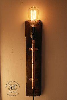 Wall arm bedroom, office custom lamp Antique Edison Bulb, Wood base Lamp, Rustic Lighting