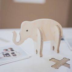 Plywood miniature elephant wood animal figure by PiecesDesigns
