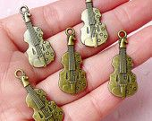 Violin Charms (5pcs) (30mm x 13mm / Antique Bronze / 2 Sided) Music Charms Pendant Bracelet Earrings Zipper Pulls Bookmark Keychains CHM591
