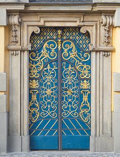 ♔ One of the beautiful Wroclaw University doors with brass accents...