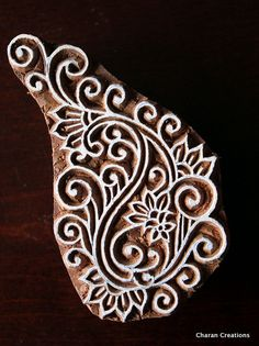 Timbre de textile, poterie Stamp, indien bois Stamp, Tjaps, Blockprint Stamp-Swirl Paisley