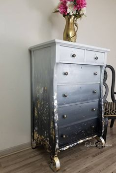 Ombre Dresser with Gold and Silver Metal Foiling. Hand Painted Furniture, Paint Furniture, Upcycled Furniture, Furniture Update, Furniture Makeover, Rustic Country Bedrooms, Decoupage, Tallboy Chest Of Drawers, Painted Wardrobe