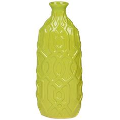 Lime Embossed Geometric Ceramic Vase (9.80 NZD) ❤ liked on Polyvore featuring home, home decor, vases, colored vases, lime green vase, lime green home accessories, ceramic vases and ceramic home decor