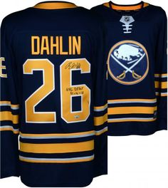 82c86888b Rasmus Dahlin Buffalo Sabres Autographed Navy Fanatics Breakaway Jersey  with NHL Debut 10/4/18 Inscription - Authentic Signed