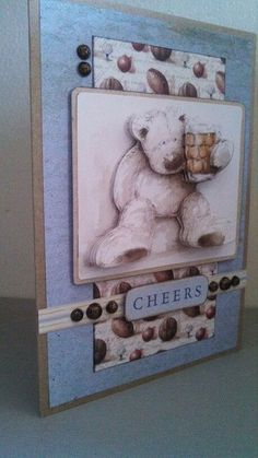 Wellington Bear, by Betsy Birthday Cards For Men, Handmade Birthday Cards, Man Birthday, Handmade Cards, 3d Cards, Masculine Cards, Cardmaking, Decoupage, Digital Designer