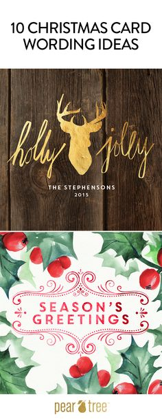 10 Christmas Card wording ideas and designs that will give your cards an extra twist this season! #HolidayCards #ChristmasCards