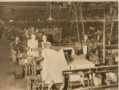 Bata Derbyshire & Blackburn Adlington Textile Mill Chorley Lancashire, workforce amongst their machines 1950, photo courtesy Charles Novotny Family Archive, we have more photos of the looms and employees of this mill, contact BRRC or see website
