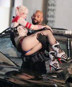 Margot Robbie and Will Smith on the Set of Suicide Squad
