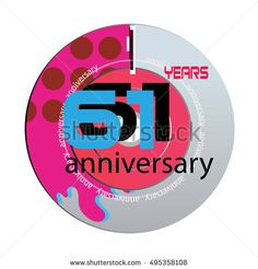 61 years anniversary logo with pink color disc. anniversary logo for birthday, wedding, celebration and party
