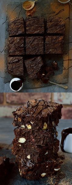 Rich & fudgy brownies made with coconut flour, cacao powder, coconut oil and sweetened with honey, a decadent treat made with good-for-you ingredients. Gluten, grain, dairy and refined sugar free.