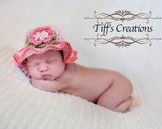 Baby girl tea party hat with flower and ruffles by creationsbytiff, $25.00