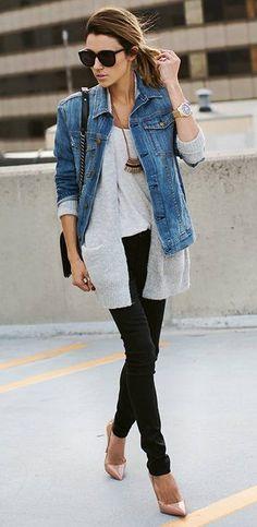 #winter #fashion /  Denim Jacket + Grey Cardigan