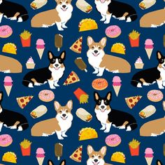corgi junk food cute dogs design donuts tacos pizza ice cream cute dogs fabric fabric by petfriendly on Spoonflower - custom fabric