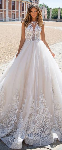 Delicate Tulle Bateau Neckline A-line Wedding Dress With Lace Appliques & Beadings