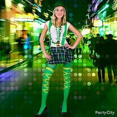 Be a lucky lassie this St. Pat's! Add blarney accessories like a green fedora, suspenders, argyle socks and beads before you hit the pubs!
