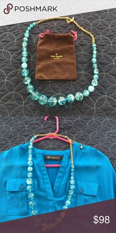 Kate Spade necklace Absolutely gorgeous turquoise. Wore for an event ~ just trying to downsize. Feel free to make a reasonable offer; but please no low balling kate spade Jewelry Necklaces