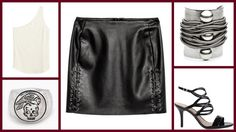 One-shoulder Top + Super Skirt with Lacing, H&M +  Sandalia Recortes Verniz Preta, Arezzo + Doma cuff, Dannijo +  and All Men Must Die Signet, Digby & Iona #мода #стиль #сочиняемнаряд #топ #юбка #обувь #сандалии #украшения #бижутерия     #браслет #кольцо #fashion #style #outfit #top #skirt #handm #shoes #sandals #arezzo #jewellery #cuff #bracelet #dannijo #ring #digbyandiona