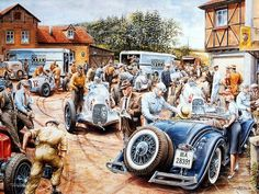 Vintage Cars and Racing Scene, Automotive Art of Vaclav Zapadlik - Vintage Car Racing Scene, Vintage Car Paintings Wallpaper 3 E Motor, Classic Race Cars, Car Illustration, Illustrations, Classic Motors, Motorcycle Design, Vintage Race Car, Car Drawings, Us Cars