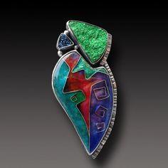 Cloisonne Jewelry Enamel  Pendant Sterling Silver von xaosart