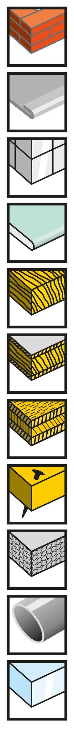 Ontwerp serie materiaal-iconen t.b.v. Kelfort Multizaag verpakkingen.