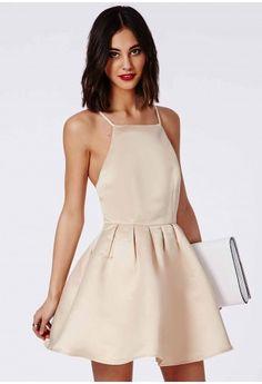 Misguided satin cross back dress