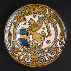 Dish with gryphon Coat of Arms of Bishop Baglioni, Deruta, Italy, ca. 1500