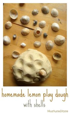 A great lemon play dough recipe - prefect with shells for some seaside-inspired sensory play.also perfect for my shell lovin 3 year old. With our fav beach 20 mins away this looks fantastic Playdough Activities, Infant Activities, Craft Activities, Homemade Playdough, Messy Play, Happy Mom, Play Food, Creative Play, Dough Recipe