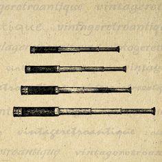 Digital Antique Spyglass Telescope Graphic by VintageRetroAntique