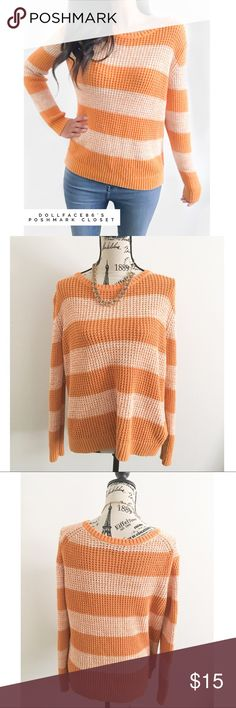 """A.n.a striped Sweater ✦   ✦{I am not a professional photographer, actual color of item may vary ➾slightly from pics}  ❥chest:22.5"""" ❥waist:21"""" ❥length:24""""/25.5"""" ❥sleeves:25"""" ➳material/care:cotton+acrylic/machine wash  ➳fit:I think it fits mire like a baggy a large w/room, but maybe not quite an XL  ➳condition:gently used   ✦20% off bundles of 3/more items ✦No Trades  ✦NO HOLDS ✦No transactions outside Poshmark  ✦No lowball offers/sales are final a.n.a Sweaters Crew & Scoop Necks"""