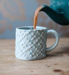 Porcelain Mug With Textile Textured Design