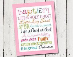 LDS Girl Baptism Subway Art - Instant Download