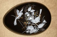 """Decorative  Black  Egg with painted birds gold and blue  6"""" long 4"""" wide"""