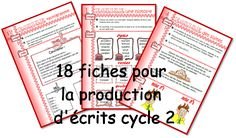Writing prompts for different types of texts Alphabet Writing, French Kids, French Classroom, Teaching French, Learn French, Writing Resources, Writing Prompts, Teaching Tools, Elementary Schools