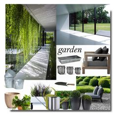 """""""The Contemporary Garden ( Top Set )"""" by sue-mes ❤ liked on Polyvore featuring interior, interiors, interior design, home, home decor, interior decorating, XVL, Cyan Design, Fred and Garden Trading"""