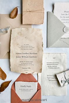 If you want a unique wedding invitation, consider having your paper hand-dyed, as Plume Calligraphy did here. Tea-dyed paper, in a brown hue that fit the season, added an extra level of attention to detail in this Old World-inspired set. #weddingideas #wedding #marthstewartwedding #weddingplanning #weddingchecklist Unique Wedding Invitations, Wedding Stationery, Autumn Inspiration, Wedding Inspiration, Invitation Paper, Invites, Flourish Calligraphy, Modern Romance, Bohemian Bride