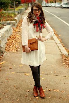 white dress, brown booties, plaid scarf