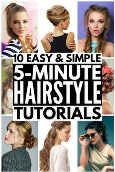 Whether you're looking for hairstyles for school, for work, for beginners, for moms, for weddings, or running late days, this collection of easy hairstyles in under 5 minutes is for you! Some of these updos are great for beginners, while others take a bit of practice, but once you master the techniques, they offer a quick way to make your locks look fab in next to no time. These looks are great for medium hair, but work on long and short hair as well. Full step-by-step tutorials included!