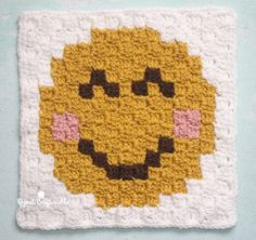 Smiley Face Emoji is the seventh square in my C2C Crochet Emoji Graphgan on Repeat Crafter Me