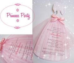 Super cute princess party invitations  other princess party ideas.