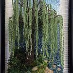 At TheWaters Edge par Dimensional Weaving. Art Fibres Textiles, Textile Fiber Art, Weaving Textiles, Weaving Art, Tapestry Weaving, Loom Weaving, Willow Tree Art, Colchas Quilt, Landscape Art Quilts