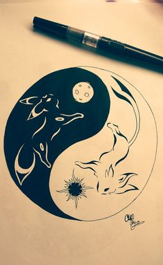 Yin-Yang Umbreon and Espeon tribal tattoo by Otakuchips on DeviantArt