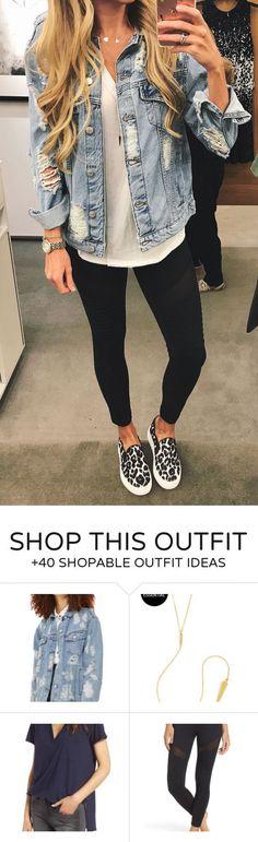 #summer #outfits Ripped Denim Jacket Black Crop Skinny Pants Leopard Pumps